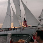 Schooners crossing paths on a cloudy day