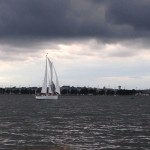 Cloudy sailing day with lots of wind