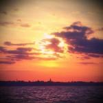 Annapolis City skyline a blaze with sunset over the Chesapeake Bay