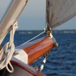 The Bow of the Schooner with blue waters ahead