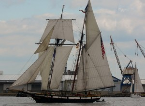 The Lynx is rigged similar to the Pride of Baltimore II.  The original Lynx was a privateer built in Fells Point and was used during the War of 1812.  Notice her split lower square sail on her foremast.
