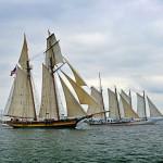 The start of the Great Chesapeake Bay Schooner Race with 4 schooners in picture