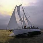 Schooner racing across the Chesapeake on a storm cloud day