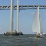 Schooner heading under the Bay Bridge