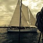 Black and white picture of schooner taken from other schooner