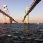 Beautiful shot of both sides of the Bay Bridge as the schooner sails under