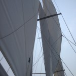 Looking up through the sails at blue skies