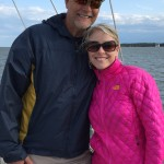Two very happy people sailing on the schooner