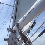 Sails and rigging under a light blue sky