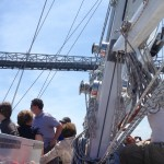 All guests on schooner leaning to port with race underway