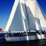 White sails of the schooner in full sail against bright blue skies