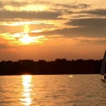 Champagne colored sunset over the Severn River with Schooner in picure