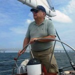 Captain and guest sailing the schooner