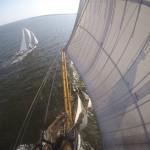 Photo taken from above the mast of one schooner picture is of both schooners