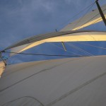 Looking straight up through the sails to blue sky