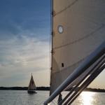 Schooner following schooner on a beautiful sunset evening