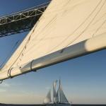 Schooner sailing under the Bay Bridge taken from second schooner