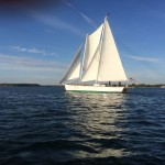 Schooner in full sail against a blue sky and blue waters