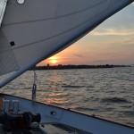 Sunset over the USNA Academy taken from the schooner on the Bay