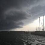 Very big dark storm cloud coming in over the Annapolis Harbor