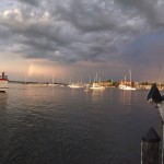 Rainbow after the storm in the harbor