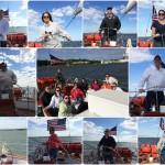 Team building collage of pictures of people steering the schooner