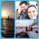 A collage of guests and sunset pictures on our schooner