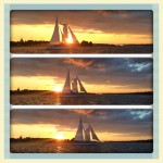 Three pictures of Schooner going by the sunset over the Academy