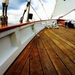 Beautiful wood deck of the schooner