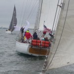Both schooners sailing one following the other on a cloudy day