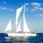 White schooner sailing against a bright blue sky and waters