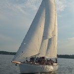Schooner sailing with guests aboard on a sunny day