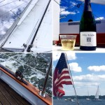 Collage of enjoyment on sailing, wine, sails, water and views
