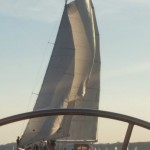 Peering through the schooner steering wheel at 2nd schooner