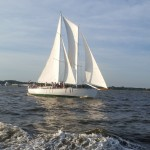 White sails full of wind on as the schooner flies over the water