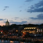 Annapolis at dusk with lights coming on near the harbor