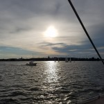 Dark waters and bright sun reflecting on them over Annapolis
