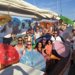 Group enjoying a birthday party on the schooner with Oriental Umbrellas