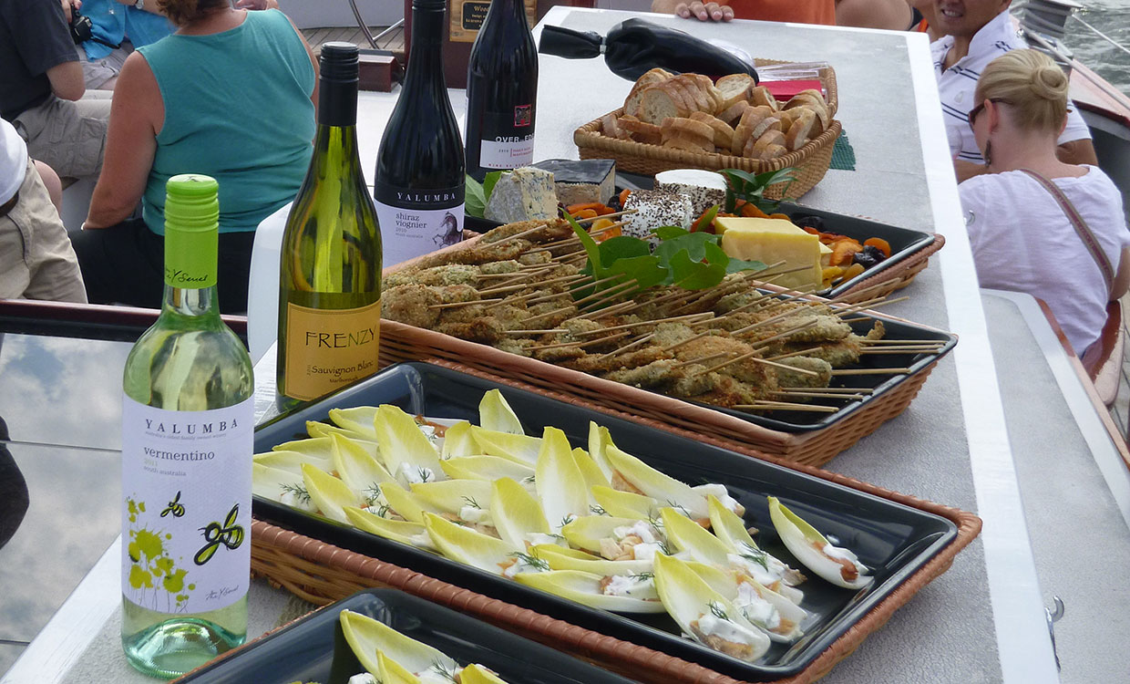 Food and wine displayed on board the schooner