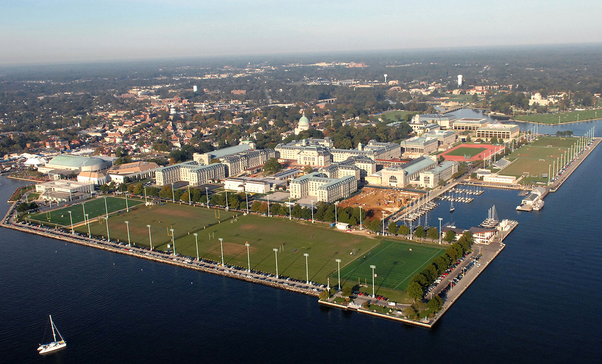 Arial picture of the United States Naval Academy