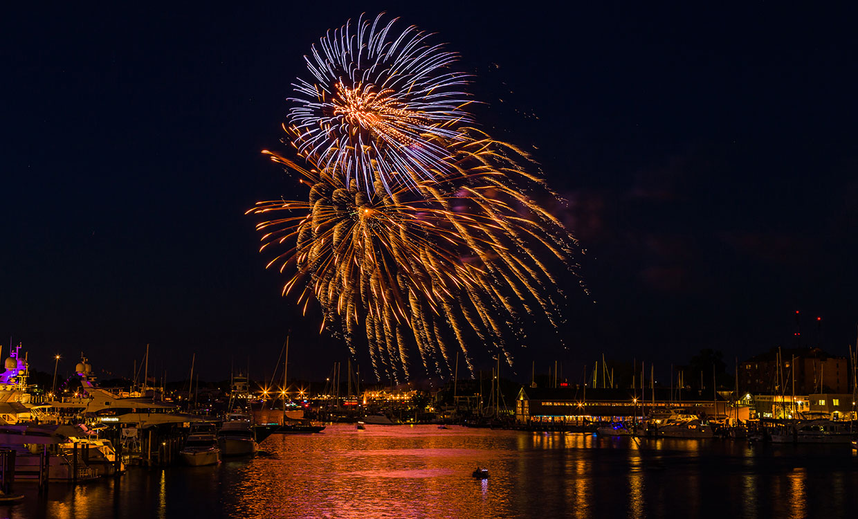 Fourth of July fireworks lighting up the Annapolis Harbor