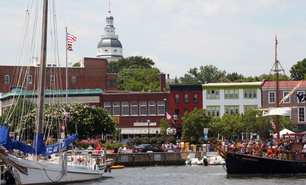Bustling Annapolis Harbor with Capital Dome in the background