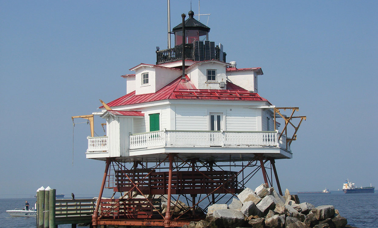 Thomas Point Shoal Lighthouse with Blue skies and water