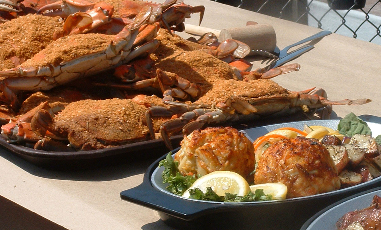 Cruise to a Crab Feast at Cantler's photos of crabs and crab cakes