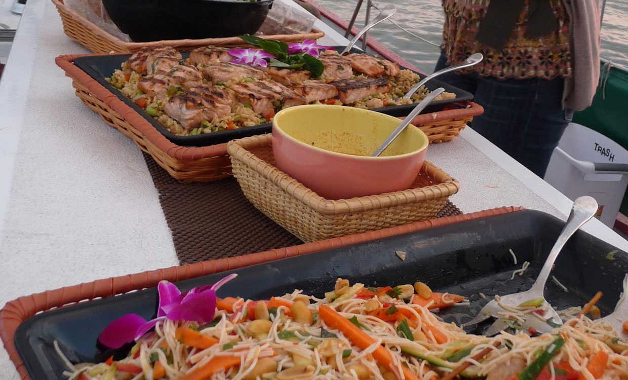 Catered food display on the schooner