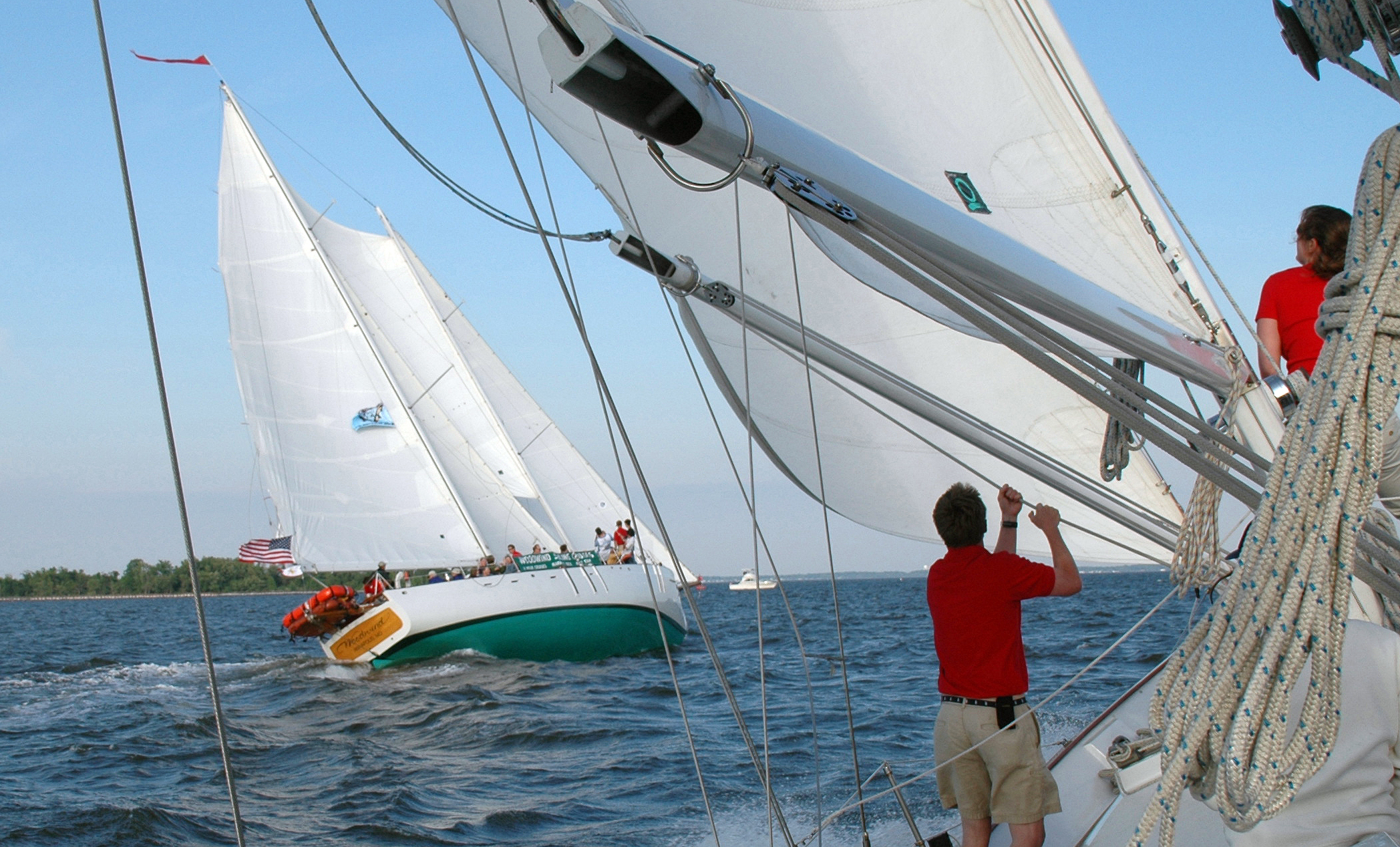 Both of the Schooners sailing against each other in team challenge