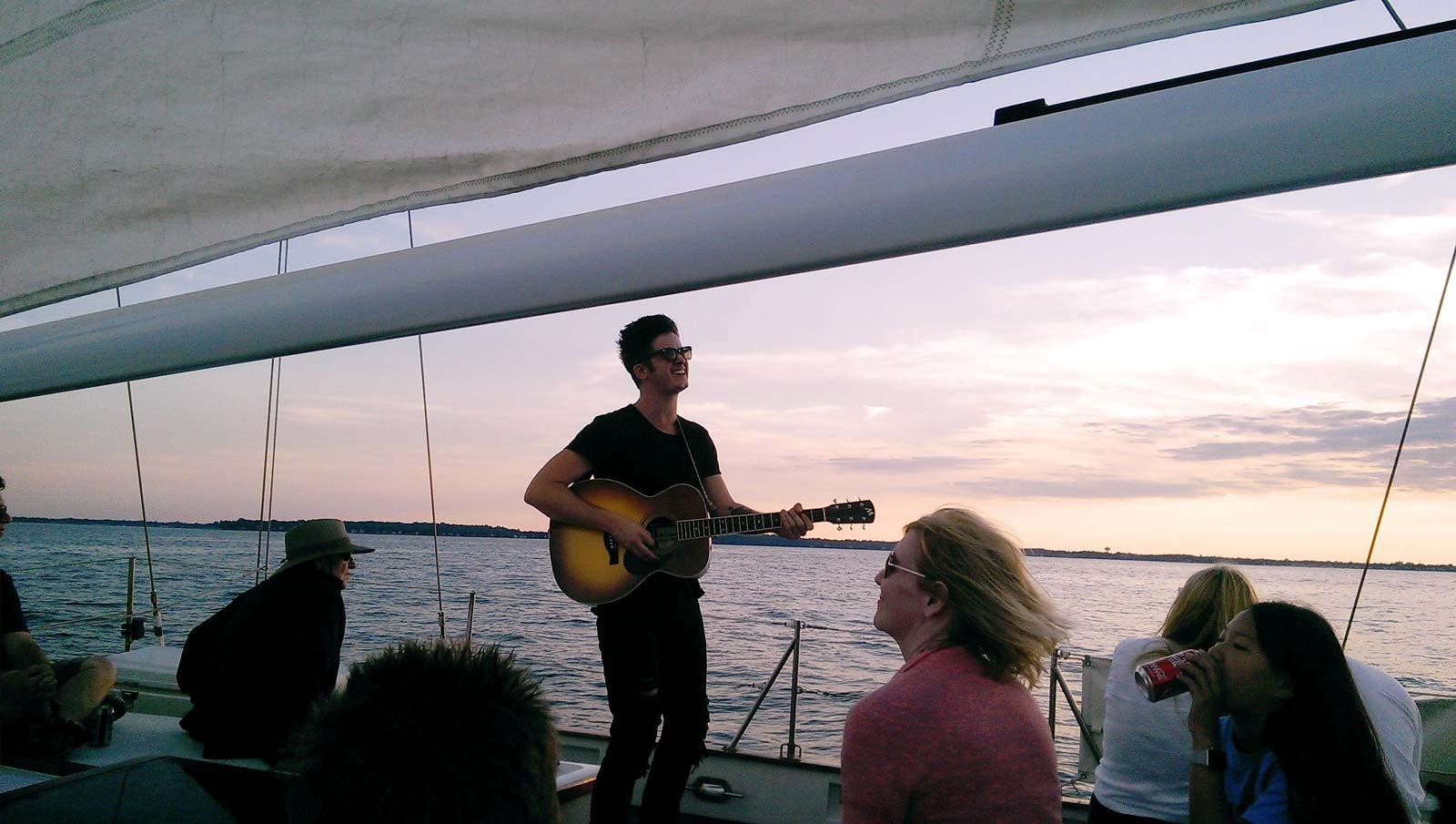 Entertainer and singer Paul Pfau on a sunset sail