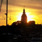 Brilliant yellow sunset framing the Annapolis Capital building