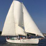 Schooner full sails on a brilliant blue sky day