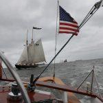 The schooner Virginia sailing behind The Schooner Woodwind